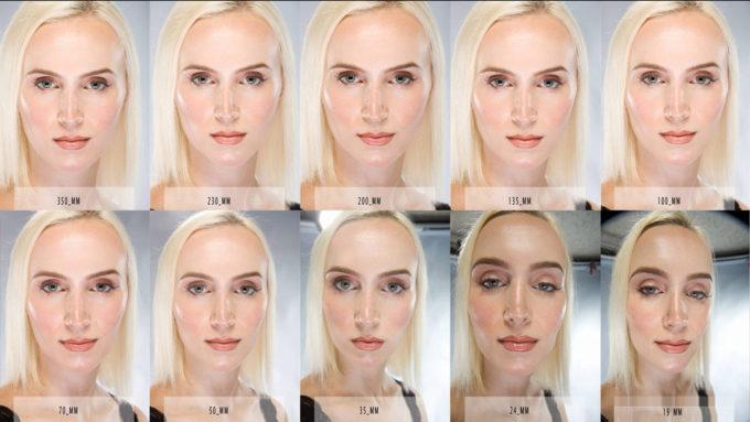 焦点距離と顔の見え方の関係